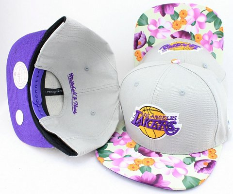 Los Angeles Lakers Flower Bill Snapback Hat JT10